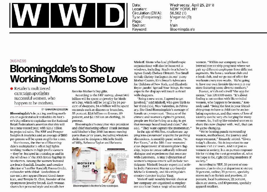 Press for The Spread Your Wings Project: Bloomingdale's Dedication