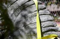 Close up of initials